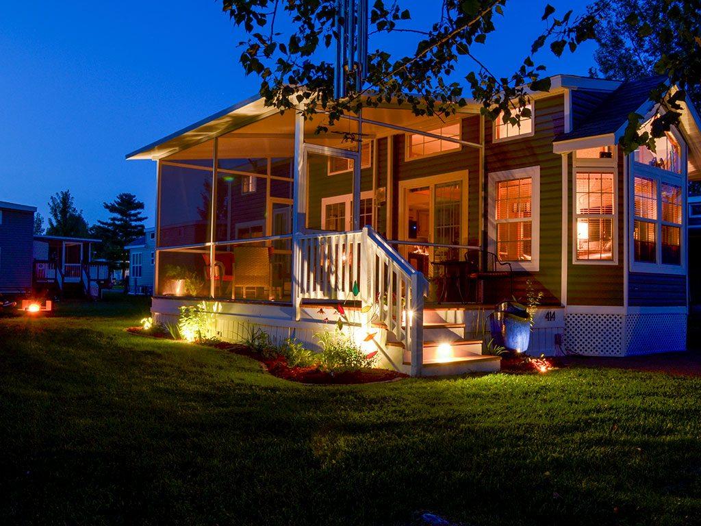 Cabin at night image